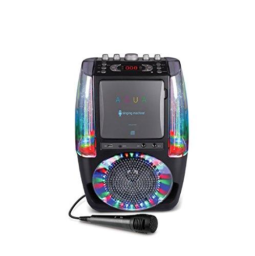 Singing Machine SML605BK AGUA Fuente de agua bailarina Sistema de karaoke Bluetooth con luces de discoteca LED, micrófono con cable y 3 CD - Negro