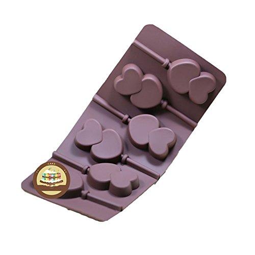 KALAIEN - Molde de silicona para paletas de chocolate, 6 unidades, con palos para decoración de tartas, silicona, Double Heart
