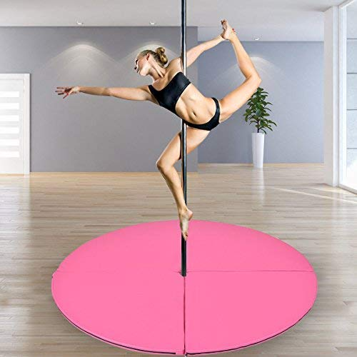 "Tangkula Pole Dance Mat Foldable Yoga Exercise Safety Dancing Cushion Steel Pipe Crash Mat, Dia 5ft x 2"" (Pink)"