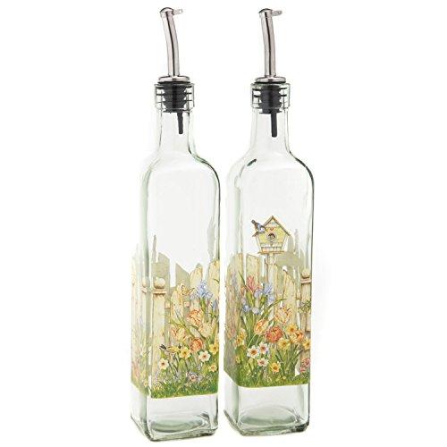 CEDAR HOME Olive Oil Bottle Set Glass Dispenser Vinegar Cruet 17oz. with Stainless Steel Leak Proof Pourer Spout for Cooking or Salad Dressing, 2 Pack, Yellow