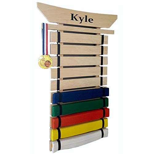 RenKata Personalized Taekwondo Belt Display for Martial Arts Belts (10 Level) - USA Made