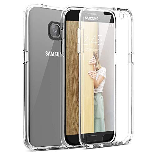 Mkej Cover Protezione Totale 360 Gradi Custodia Trasparente Compatibile con Samsung Galaxy S7 Edge, Full Body Anteriore Sottile TPU + Difficile PC Posteriore Case per Samsung Galaxy S7 Edge