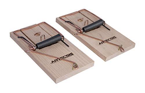 ARTECSIS 2er Pack mit klassischen Rattenfallen aus Holz, Schlagfalle, Schnappfalle, wiederverwendbar, Starke Schlagkraft, innen anwendbar