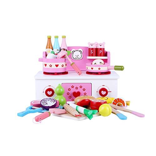 Juguete de cocina Xingdong Juego, Utensilios de Cocina, Accesorios de Cocina de Juguete, Fruta y Estufa de Cubiertos de Frutas Moda (Color : Pink)