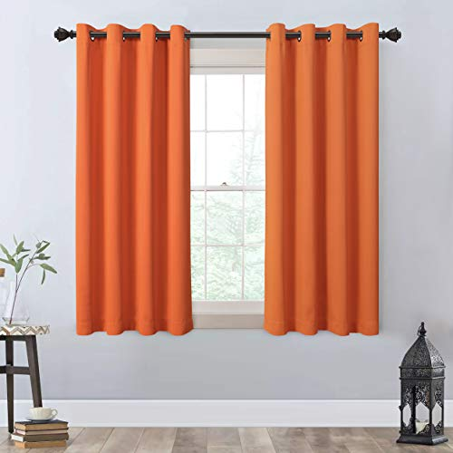 """MYSKY HOME Orange Blackout Curtains 63 Inches Length,Grommet Thermal Insulated Blackout Curtain Panel for Living Room,Bedroom,Farmhouse,2 Pcs,52"""" x 63"""""""