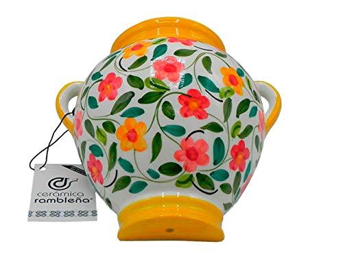 Ceramic Rambalena | Vaso da appendere in terracotta | Vaso da parete | Giallo e Bianco | 100% Decorato a mano | 24 x 24 x 16 cm