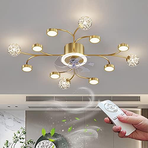 Dorado LED Ventilador de Techo con Lámpara Iluminación Moderna Lámpara de Techo Regulable Mando Distáncia Silencioso Luz de Fan para Salón Oficina Comedor Restaurante Ajustable 3 Velocidades Ø100cm