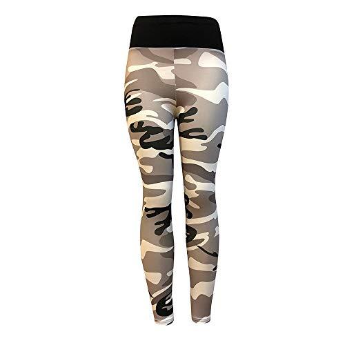 Camouflage Sporthose Damen Lang Eng Yogahosen Trainingshose Tights Shape Stretch Leggings für Workout Gym Sport Yoga Joggen Trainings Fitness Laufen Hosen riou New (S, Grau)
