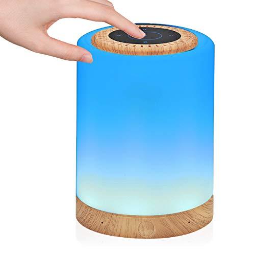 Lampada LED con Altoparlante Bluetooth, Lampada da Comodino Tocco, Luce Notturna Bambini con Ricaricabile USB, Musica Ritmare, Cambio Colore RGB, Luminosità Regolabile