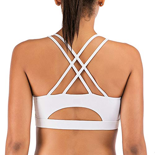 Yaavii Strappy Sports Bra for Women Sexy Cross Back Padded Yoga Bras Gym Workout Casual Activewear Tops White