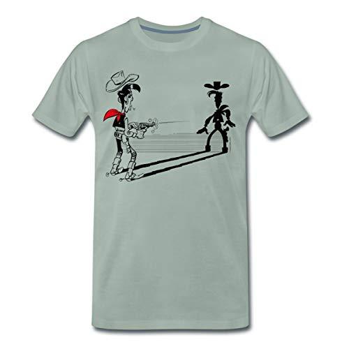 Lucky Luke Schneller als Sein Schatten Männer Premium T-Shirt, XL, Graugrün