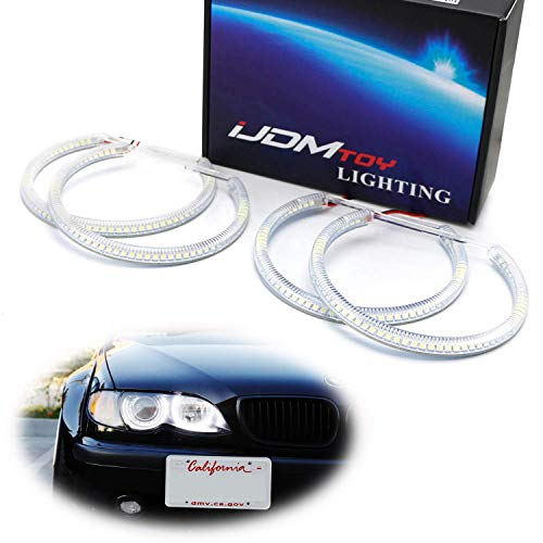 iJDMTOY 7000K Xenon White 264-SMD LED Angel Eyes Halo Ring Lighting Kit Compatible With BMW E36 E46 3 Series E39 5 Series E38 7 Series with Adaptive Xenon Headlight