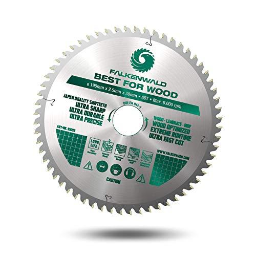 FALKENWALD® - Hoja de sierra inalámbrica (190 x 30 mm, ideal para madera (WOOD) - Compatible con Bosch GKS 65, PKS 66 AF - Hoja de sierra circular universal 190 x 30 mm)