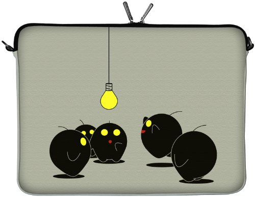 Digittrade LS157-17 Illumination Designer Laptop Tasche 17 Zoll Notebook Sleeve Hülle Schutzhülle aus Neopren bis 43,9 cm (17,3 Zoll) Case grau-schwarz