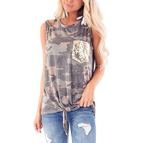 Rifuli Damen T-Shirt Weste Ärmelloses Paillettentaschen Frontknoten Tarnmuster Trägershirt für Damenmode Sommer Locker Oberteile Bluse