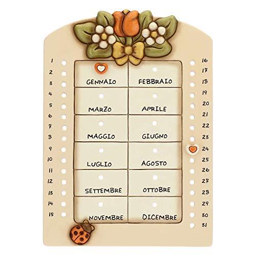 THUN-Calendario perpetuo da Parete in Ceramica Country con Coccinella Portafortuna