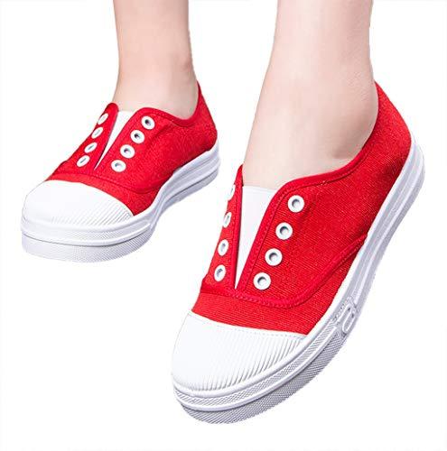 Bequeme Sportschuhe für Damen,Frauen Canvas Flache Sneaker, Basic Sport Slip On Sneaker Schuhe Sommer Schuhe Faule Schuhe Sportschuhe Schlüpfschuhe Slippers Weiß Beige Schwarz Grau Rot Gelb 35-43 EU