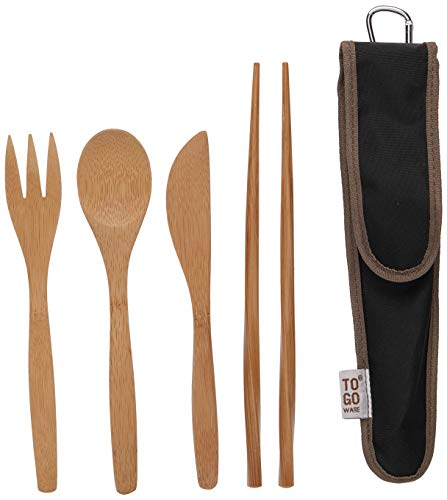To-Go Ware Bamboo Travel Utensils – Utensil Set with Carrying Case, Hijiki