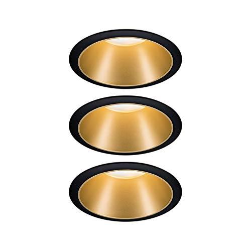 Paulmann 93404 LED Einbauleuchte Cole rund incl. 3x6,5 Watt dimmbar Einbaustrahler Schwarz, Gold matt Einbaulampe Kunststoff, Alu Zink Deckenspot 2700 K