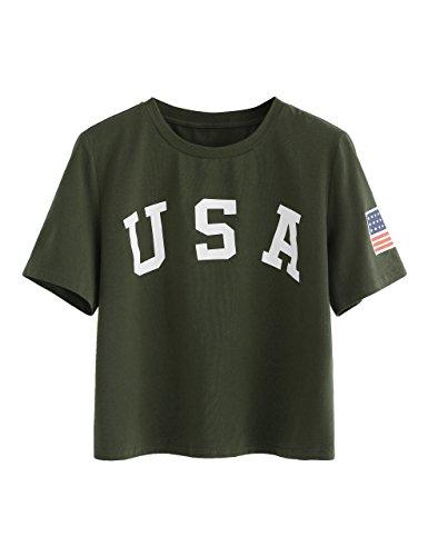 SweatyRocks Women's Letter Print Crop Tops Summer Short Sleeve T-shirt Army Green M