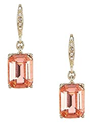 Peach Drop Gold with Light Red Crystal Earrings