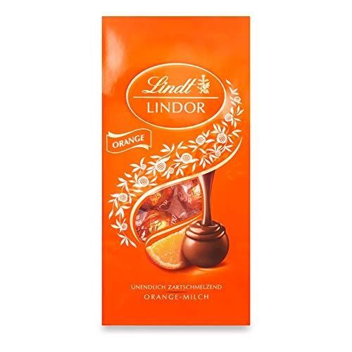 Lindt Lindor Orange-Milch-Schokoladenkugeln, unendlich zartschmelzend (ca. 10 Kugeln), 137 g