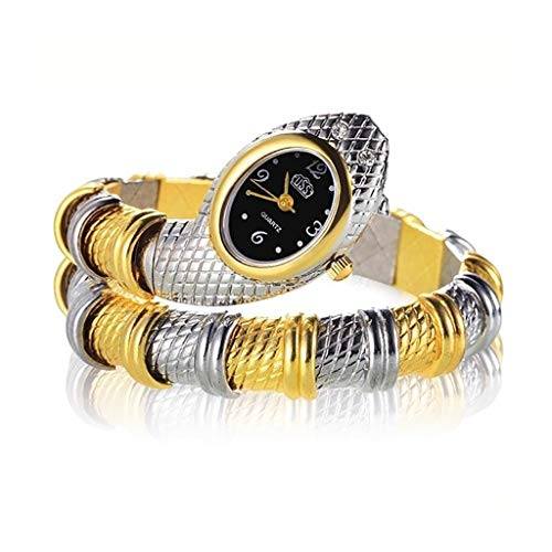 NANSHAN SFACN 2 PCS Snake-shaped Bracelet Watch, Diamond-Plated Quartz Watch (Color : Interval Gold)