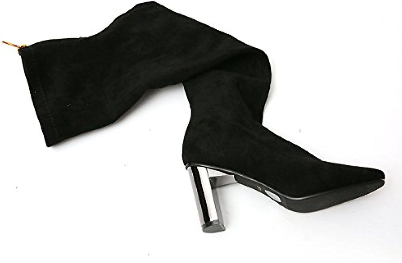 KHSKX Knee Boots hög hög hög klacked Boots och Winter Cashmere Simple svart mocka Boots With Thick Head Sleve Tide  lyx-märke