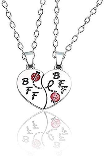 Yiffshunl Collar Collar de Mejor Amigo para Mujeres y niñas, Colgante de Insectos, Cadena Larga de Plata, joyería, Regalos