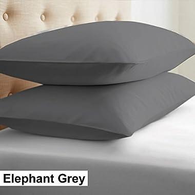 2-Piece- Euroshams ~ Solid Pattern 100% Pima Cotton 500 Thread- Count European Super Soft 2 PC Pillow Cases ( 26 x 26 Inch (66cm x 66cm ) , Elephant Grey)