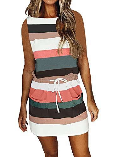 RHSWAUD Womens Stripe Print T-Shirt Dress Round Neck Sleeveless Elastic Drawstring Dress Green