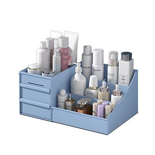 化粧品収納ボックス メイクボックス コスメボックス アクセサリー ケース 引き出し付き 大容量 収納/雑貨 小物入れ/化粧道具入れ 化粧品収納 便利?(ブルー)