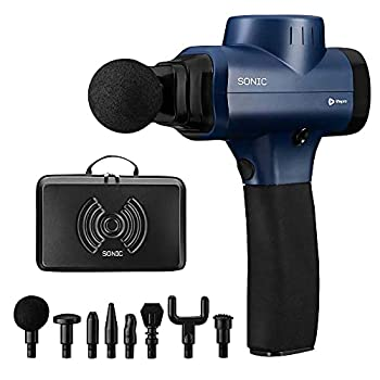 Sonic Handheld Percussion Massage Gun - Deep Tissue Massager for Sore Muscle and Stiffness - Quiet 5 Speed High-Intensity Vibration - Quick Rechargeable Device - Includes 8 Massage Heads  Blue