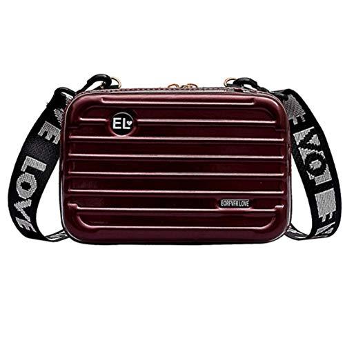 INTVN Mini Koffer Form Umhängetasche, ABS + PC Mode Damen Schultertasche Kupplung 3D Streifenmuster Handtasche mit Abnehmbar Schultergurt Handschlaufe Klein Tasche für Handy unter 6.5 Zoll, Weinrot