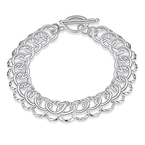 Naicasy 925 joyería de la Nueva joyería de Moda clásico de la Nueva Hebilla de Plata sólido Mujer Pulsera de Hombre' s + Bolsa del Terciopelo