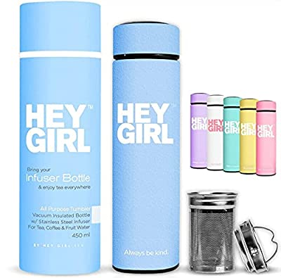 Hey Girl Tea Infuser Bottle - Travel Tea Tumbler Herbal Loose Leaf Tea , Tea Bags , Green 15oz 450ml