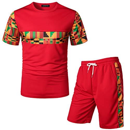 LucMatton Men's African Pattern Printed T-Shirt and Shorts Set Sports Mesh Tracksuit Dashiki Outfits Royal Blue XX-Large