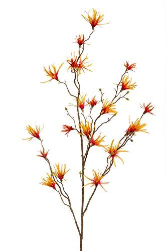 PARC Network Deko Zweig Zaubernuss, orange-gelb, 120cm - Hamamelis Kunstzweig - Zaubernuss Künstlich - Kunstpflanzen - Zaubernusszweig Künstlich