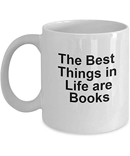 De beste dingen in het leven zijn boeken koffiehaver - boekenliefhebbers-medewerker-vriend-cadeau - grappige theekopje