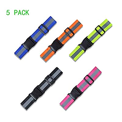 5 PCS Reflective Belt, High Visibility, Adjustable, Lightweight Reflective Gear for Running, Walking & Cycling - Fits Women, Men & Kids - Green, Red, Blue, Pink, Orange