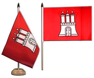 Tischflagge / Tischfahne Deutschland Hamburg + gratis Aufkleber, Flaggenfritze®