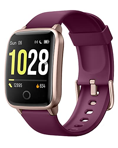 Willful Smartwatch Fitness Watch Men Women Fitness Tracker Pedometer Calories Wrist Waterproof IP68 Smart Watch with Stopwatch Notifications Messages for Android iOS (Purple)