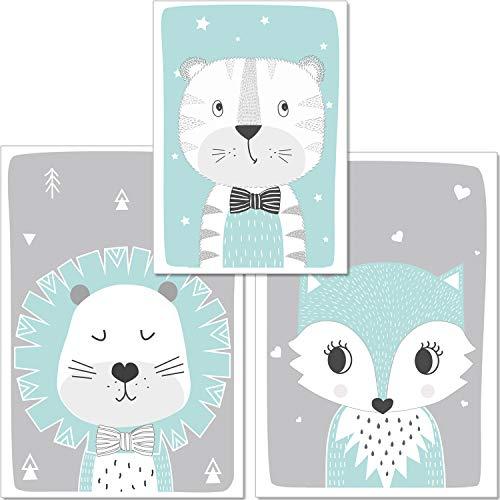artpin® 3er-Set Poster Kinderzimmer - von Künstlerin - A4 Bilder im skandinavischen Stil - für Mädchen Junge - Löwe, Tiger, Fuchs, Mint (P17)