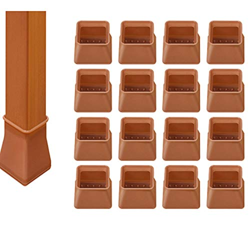 OOYT 16PCS Silicone Chair Leg Caps, Transparent Silicone Chair Leg Floor Protectors with Felt, Free Moving Table Leg Covers, Prevent Scratches Noise (Brown,C)