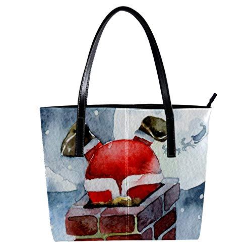 LORVIES Weihnachtsmann im Kamin versteckte Schultertasche aus PU-Leder und Handtaschen für Damen