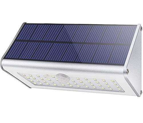 CAIYUE Luces solares al aire libre, 1100lm 46 LED 4500 mAh Luces de seguridad con sensor de movimiento Luces solares a prueba de agua Luces de pared de aluminio inalámbricas para jardín- luz blanca