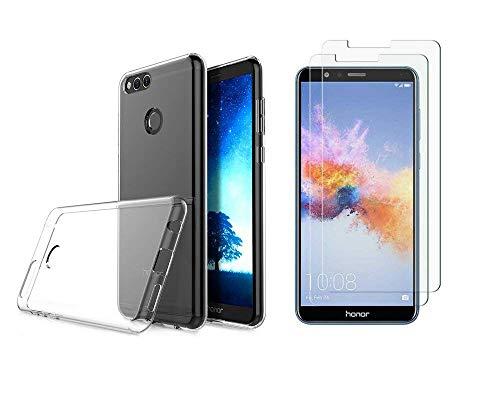 NOVAGO Compatible Huawei Honor 9 Lite Pack 3 en 1 Coque Transparente Solide+ 2 Films en Verre trempé Transparent (Films Plus Petits Que l'écran)
