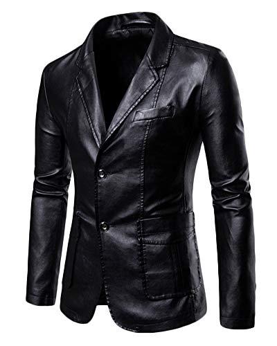 Hombres PU Traje Chaqueta Tamaño Grande Color Sólido Slim Fit Chaqueta De Cuero Blazer Negro XXL