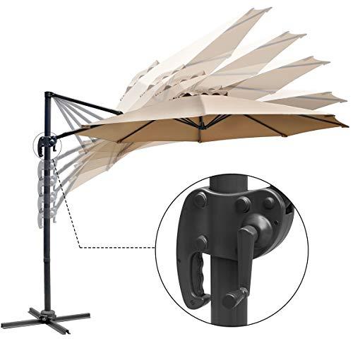 U-MAX Patio 10 FT Cantilever Offset Umbrella Outdoor Hanging Umbrella 360° Rotation with Cross Base, Beige