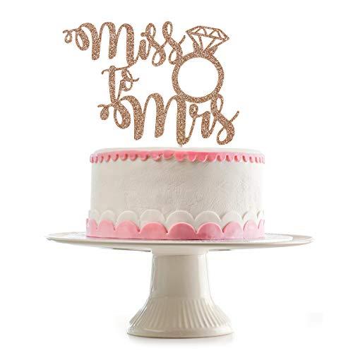 Miss to Mrs Cake Topper- Rose Gold Glitter, Bridal Shower Cake Topper, Wedding Cake Toppers, Wedding Toppers, Cake Topper Miss to Mrs, Cake Toppers for Engagement